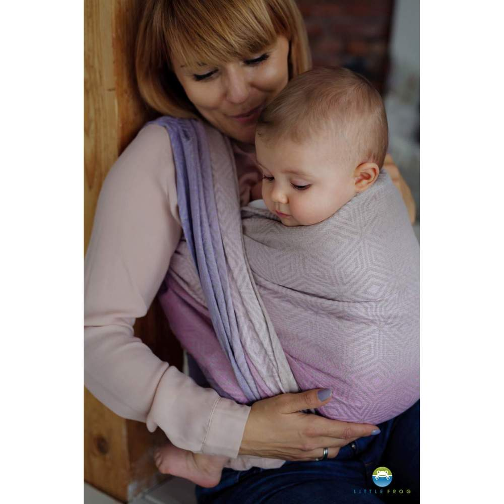 78e888fe54b Woven baby wrap Little Frog Lilac Linen Cube