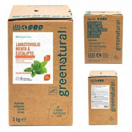 Bag in Box da 5 kg Detergente Liquido Eco Bio per Lavastoviglie con olio essenziale di  menta ed eucalipto | GreeNatural
