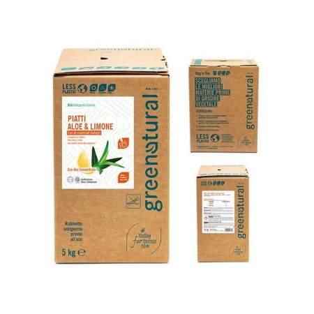 Bag in Box da 5 kg Detergente Liquido Piatti e Stoviglie con olio essenziale di limone e aloe | GreeNatural