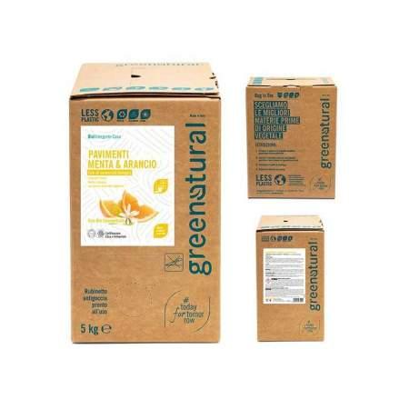 Bag in Box da 5 lt Detergente Liquido per Pavimenti Arancio e Menta | Greenatural