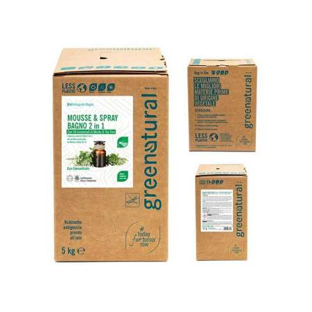 Bag in Box da 5 Lt Mousse & Spray Bagno Eco Bio 2 in 1| GreeNatural