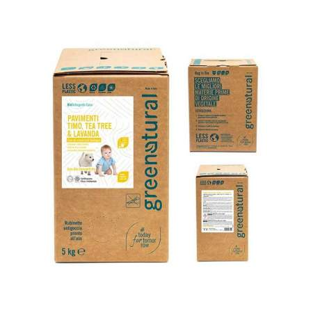Bag in Box da 5 lt Detergente Eco Bio per Pavimenti cpn lavanda, timo e tea tree | GreeNatural
