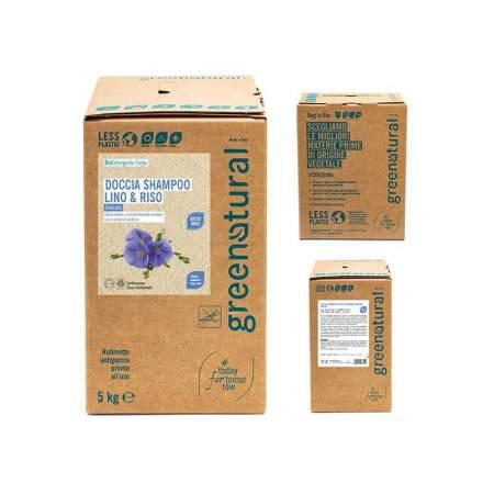 Doccia shampoo Eco-bio Lino e Proteine del riso, bag da 5 kg | Greenatural