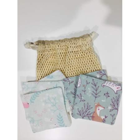 Kit da 6 salviette con rete di lavaggio in flanella di cotone biologico | Da Zero