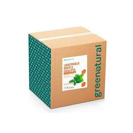Bag in Box da 10 kg Detergente Liquido Eco Bio per Lavastoviglie con olio essenziale di menta ed eucalipto | GreeNatural