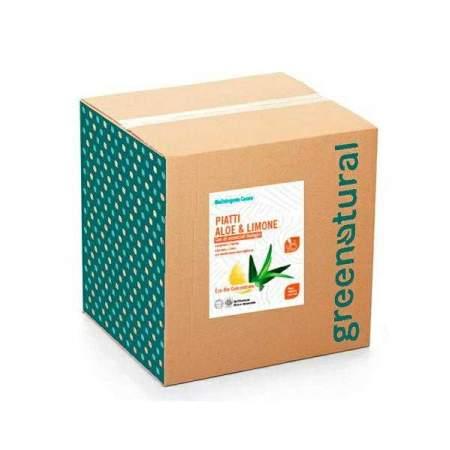 Bag in Box da 10 kg Detergente Liquido Piatti e Stoviglie con olio essenziale di limone e aloe | GreeNatural