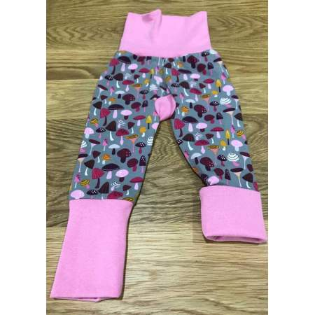 Pantaloni Grow With Me in cotone biologico Pink Mushrooms TG S| Boo & Boo Baby
