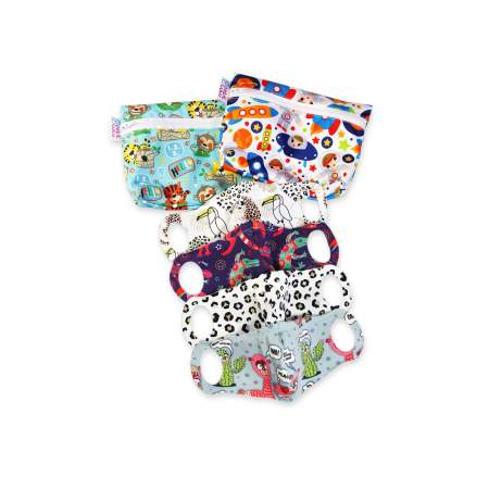 Set 4 Mascherine Lavabili XS + 2 wet bag Happy Owls & Geckos  Petit Lulù