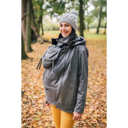 Giacca per Portare in Softshell per Gravidanza e Babywearing Pebble Grey  | Be Lenka
