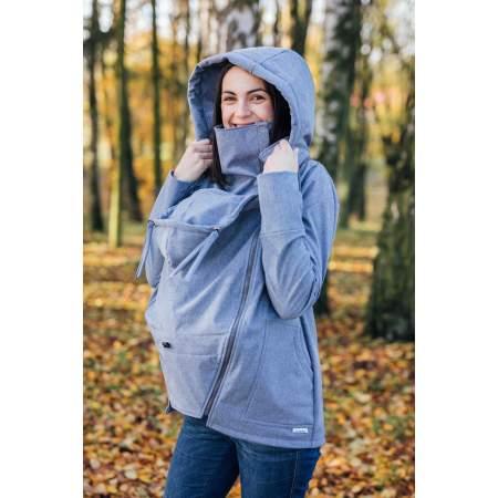 Giacca per Portare in Softshell per Gravidanza e Babywearing Steel Blue | Be Lenka