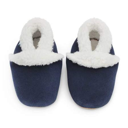 Navy Blue Suede Slippers |  Dotty Fish