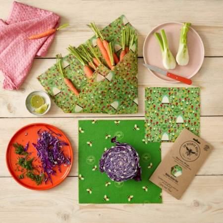 Fogli Alimentari in Cera d'Api e Cotone GOTs  Land |  The Beeswax Wrap Company