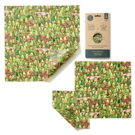 Fogli Alimentari VEGANI in Cotone GOTs  Avocado Park Print |  The Beeswax Wrap Company