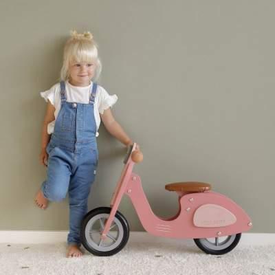 Scooter in legno senza pedali Hout Pink | Little Dutch