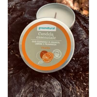 Eco Candela Vitalità con olio essenziale di Arancio, Limone e Palmarosa  | Greenatural