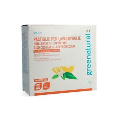 Greentabs Lavastoviglie con olio essenziale biologico di Arancio e Limone 25 pz | GreeNatural