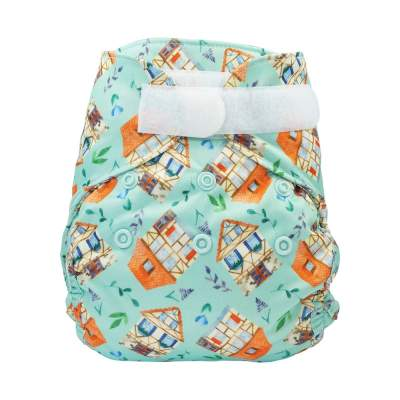 Blümchen diaper cover Newborn with gussets Sweet Houses (3-6 kg)
